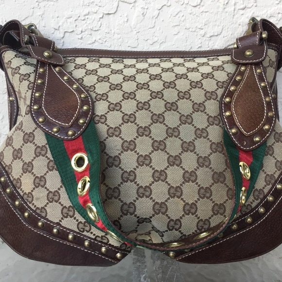 a8e1142b93e0 Gucci Handbags - GUCCI SUPREME PELHAM HOBO STUDDED GG CANVAS GREEN/